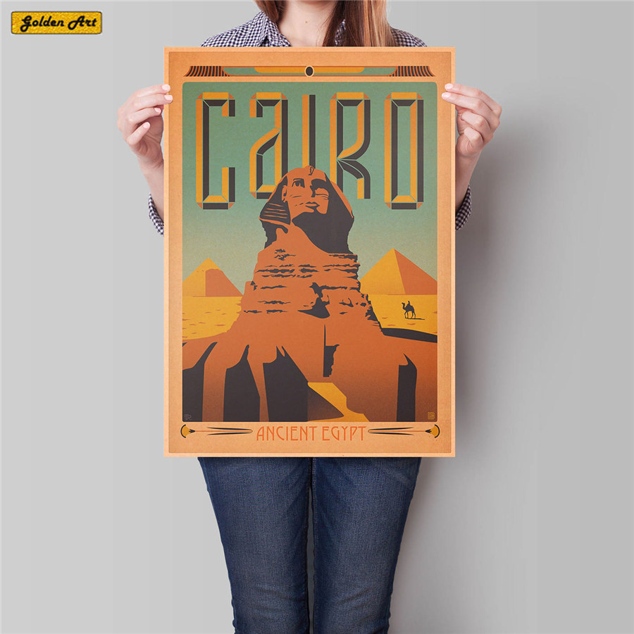 Cairo City Travel Poster Places of interest Landscape Painting Vintage Kraft Paper Hand Painted Wall Sticker Home Decor 42x30cm image