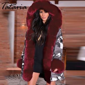 Image 3 - سترة نسائية من Tataria شتوية دافئة وسميكة بغطاء للرأس معاطف عسكرية للنساء جاكيت بياقة من الفرو الصناعي للنساء جاكيت من المخمل