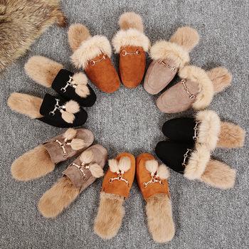 GHJIOL prawdziwe kapcie futrzane buty kobieta 2020 muły damskie futrzane kapcie zimowe ciepłe buty damskie modne pantofle sierść królika tanie i dobre opinie podstawowe flokowane CN (pochodzenie) Płaskie z RUBBER Niska (1 cm-3 cm) LEISURE Dobrze pasuje do rozmiaru wybierz swój normalny rozmiar