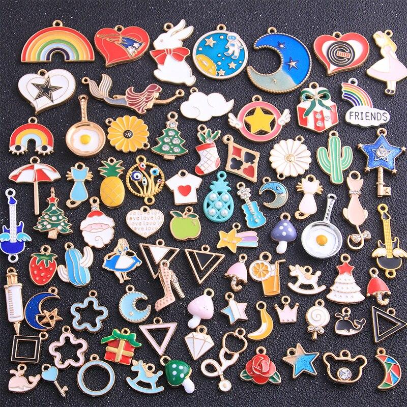 Случайный смешанный цвет 10 шт., Микс 50-300 стиль, сплав, металл, капля, масло, животное, план, подвески, подвеска для DIY, браслет, ожерелье, изгото...