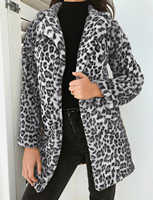 Hirigin 2019 Newest Hot Womens Winter Warm Leopard Fluffy Fleece Jacket Coat Cardigans Hooded Jumper Tops Clubwear