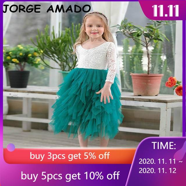 Robe en dentelle pour fille, vêtement de mariage, tulle à plusieurs niveaux, tenue de princesse Maxi à manches longues, pour enfants de 1 à 10 ans, E17104