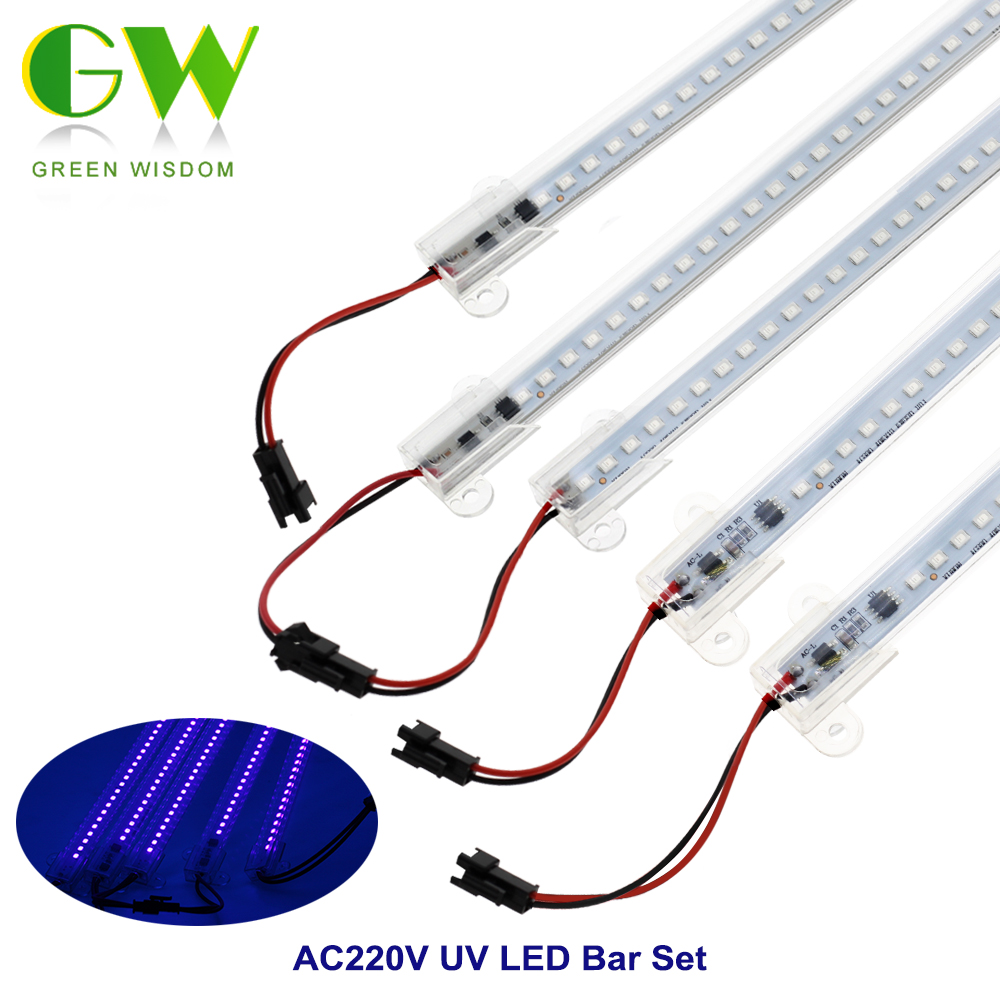 220V Ultraviolet Lamp UV LED Bar Light SMD2835 72 LEDs UV Fluorescent Tubes For Party Bar Lamp Laser Stage Wall Backlight 5pcs