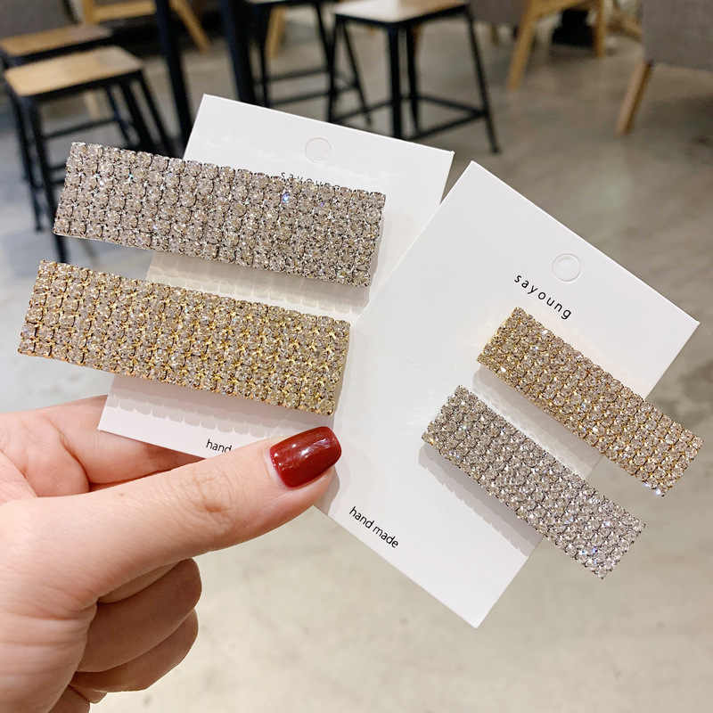 1Pcs Korea Mengkilap Kristal Berlian Imitasi Jepit Rambut Geometris Persegi Panjang Aksesoris