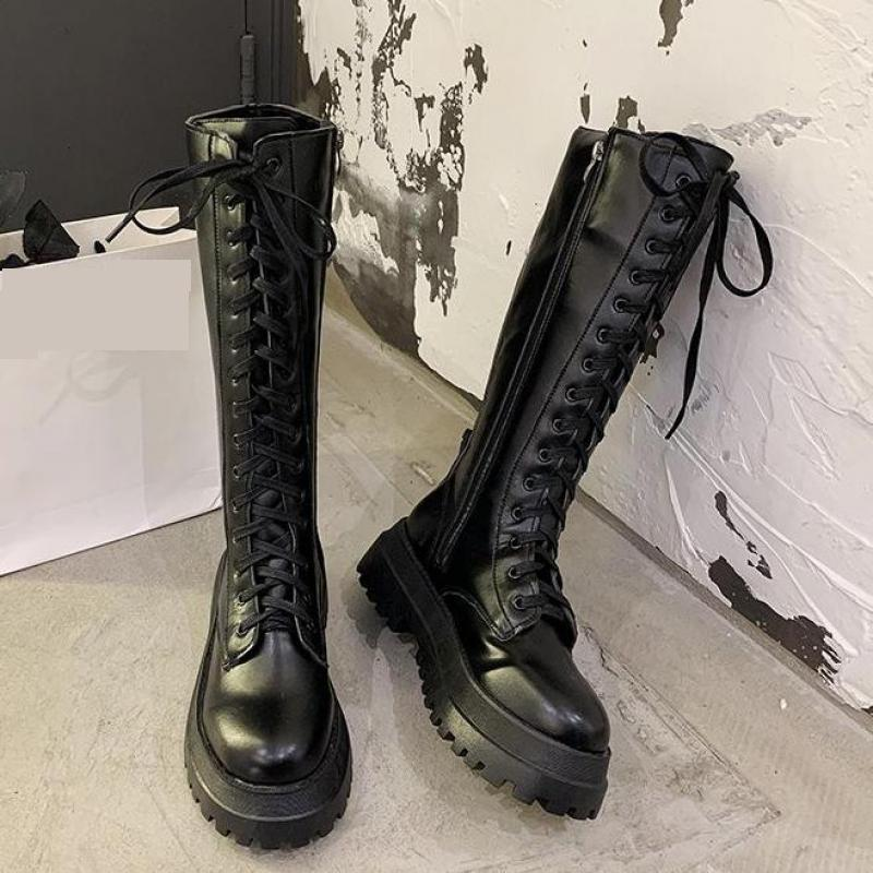 Gothic Knee Lace Up Leather Boots  1