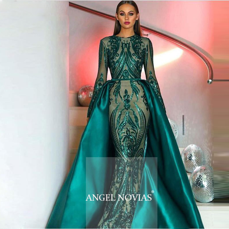 Evening-Dresses Detachable-Train Moroccan Kaftan Party-Gown Sequin Long-Sleeve Muslim