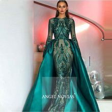 Long Sleeve Robe De Soiree Muslim Green Evening Dresses 2020 With Detachable Train Sequin Moroccan Kaftan Formal Prom Party Gown