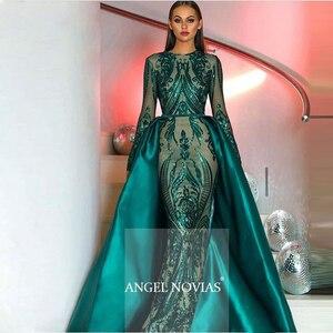 Image 1 - Manga longa robe de soiree muçulmano verde vestidos de noite 2020 com destacável trem lantejoulas marroquino kaftan formal baile de formatura vestido de festa