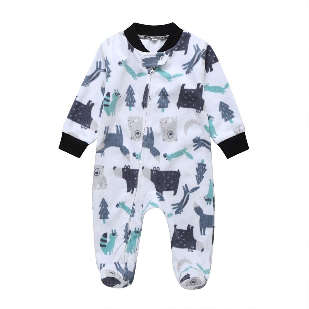 Комбинезон для маленьких девочек с рисунком единорога; зимняя одежда для новорожденных мальчиков с длинными рукавами; 0-12 месяцев; с круглым вырезом; на молнии; - Цвет: 13