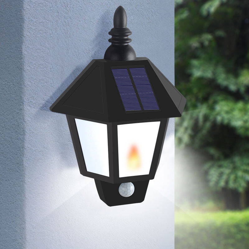 Two Modes Solar Garden Flame Light Led Sensor Wall Lamp Solar Street Lights Power Outdoor Waterproof Luminaria Battery Lamps