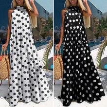 Plus Size ZANZEA Women Sundress 2020 Summer Elegant Halter Neck Maxi Ruffles Dress Female Beach Dresses Sarafans Casual Vestidos