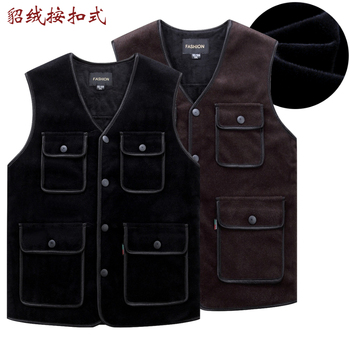 Mink velvet men vest autumn and winter multi-pocket plus padded fleece jacket size S-4XL
