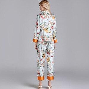 Image 4 - JULYS SONG Faux Silk Satin Pajamas Set 2 Piece Women Spring Flower Plant Printing Long Sleeve Sleepwear Pajamas Suit Home wear