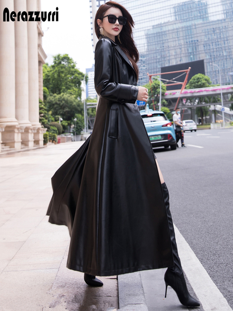 Nerazzurri Maxi fit and flare leather trench coat for women 2021 spring Long luxury designer clothing women long sleeve lapel 1