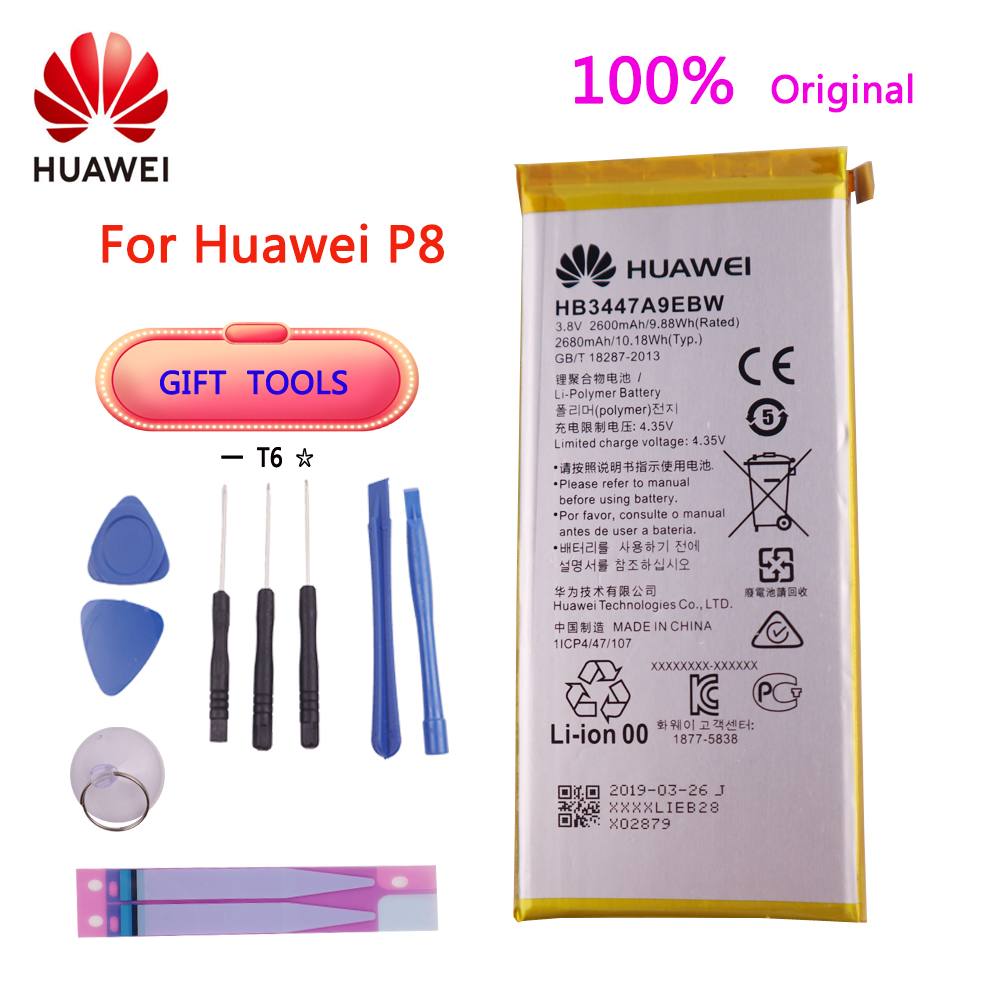Original Replacement Battery 2600mAh HB3447A9EBW Battery For Huawei Ascend P8 GRA-L09/UL00/CL00/TL00/TL10/UL10 Battery