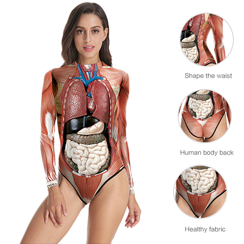 3D Printed Long Sleeve O-Neck Skinny Bodysuit 2019 Summer Women Human Internal Organs Style Sexy Body Suit Casual Jumpsuit