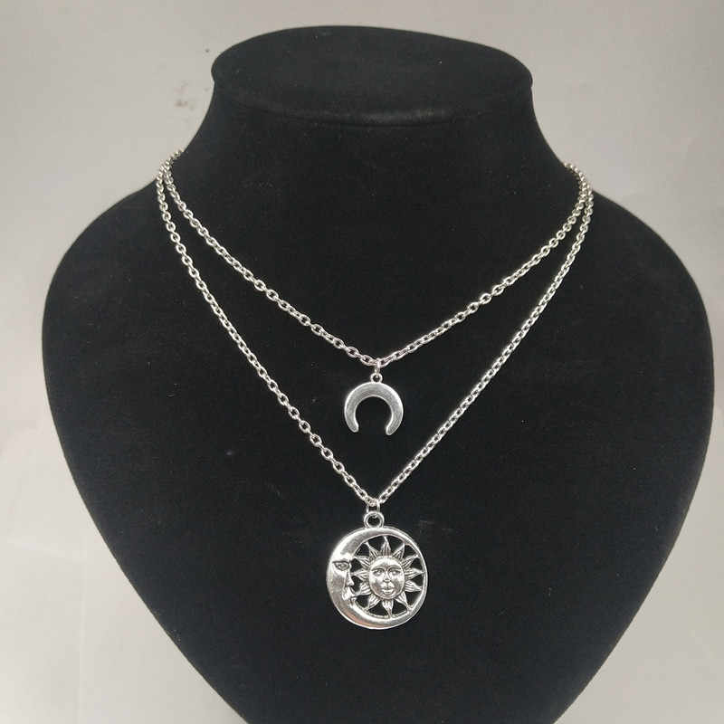 Tocona boho sol lua pingente colares para mulher prata antiga mutil-gargantilhas em camadas colar colar jóias