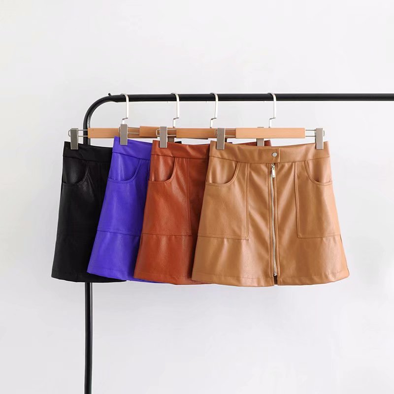 2019 Spring New Style Europe And America Fashion Zipper Patch Pocket Leather Skirt Skirt WOMEN'S Dress