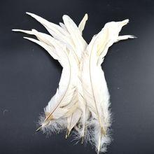 100 sztuk biały kogut pióra ogona dla rzemiosła 30 35cm DIY naturalne pióra biżuteria karnawał Christmas Party Wedding dekoracyjne