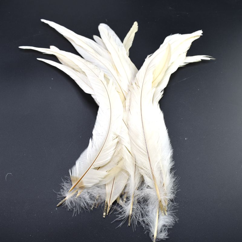 100pcs White Rooster Tail Feathers for Crafts 30 35cm DIY Natural Feathers Jewelry Carnival Christmas Party Wedding DecorativeFeather   -