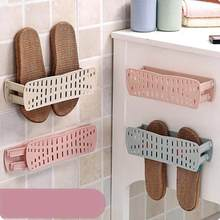 Folding Wall Hanging Storage Rack Paste Household Shoes Slippers Suction Shelf DIY Home Furniture(China)