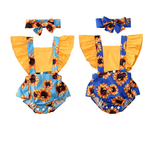 0-24M Infant Baby Girl Bodysuits Headband Sunflower Print Ruffle Short Sleeve Ro