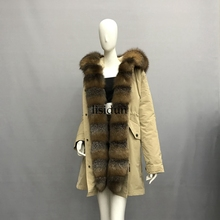 2019 Real fur coat fox parkas winter jacket women parka big real raccoon collar natural liner long outerwear