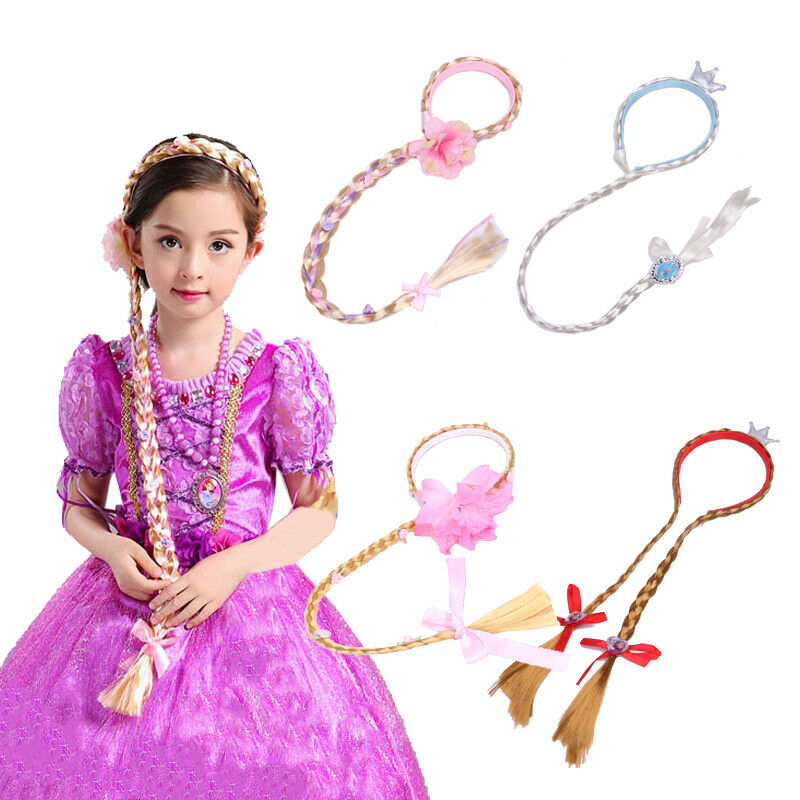 Girls Elsa Blonde Cosplay Weaving Braid Tangled Rapunzel Headwear Headband Hair Girls Wig