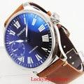 Механические синие модные круглые мужские наручные часы 6497 Move Мужские t Кожаный ремешок 44 мм SS чехол с ручным заводом часы