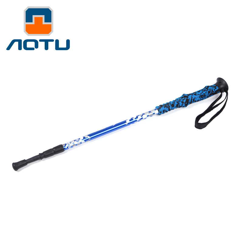 Customizable Aluminum Alloy Cane Three-section Extendable Outdoor Alpenstock Anti-slip Walking Stick For The Elderly Cross Borde