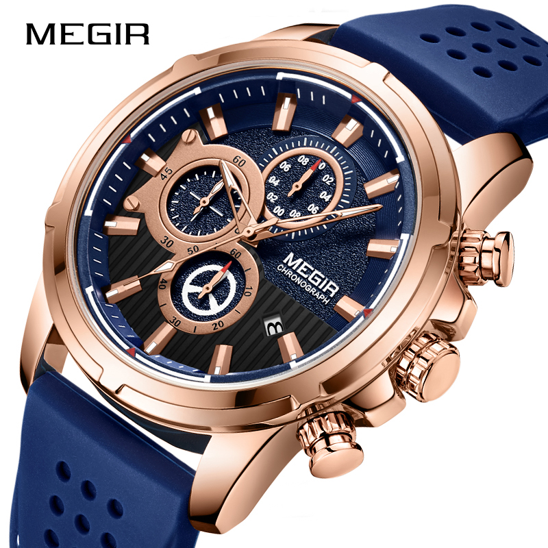 <font><b>MEGIR</b></font> Brand Men's Analog Quartz Wrist Watch Men Luxury Fashion Sport Watches Casual Silicone Waterproof Watch Male Clock 2019 image