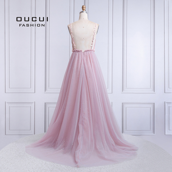 Sexy V Neck Evening Dress Long 2019 Backless Robe De Soiree Prom Dresses Wedding A-Line Lace Flower Pearl Ball Gown OL103424 1