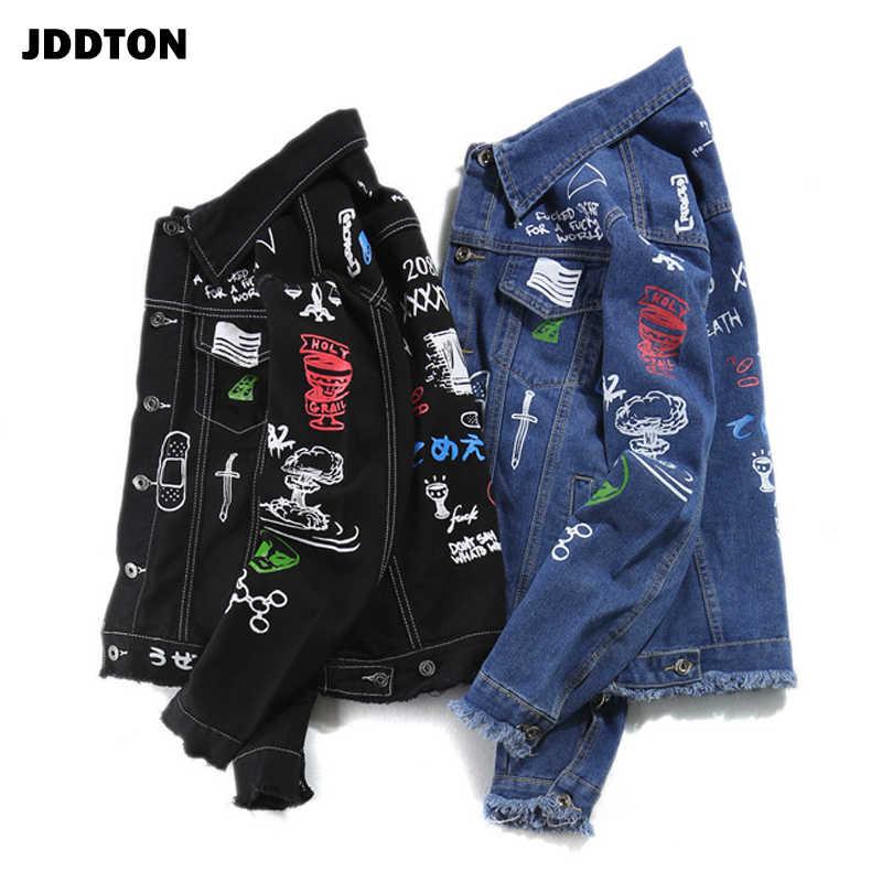 Jddton 남성 가을 성격 낙서 청바지 캐주얼 힙합 패션 빈티지 데님 오버 코트 streetwear 겉옷 je317