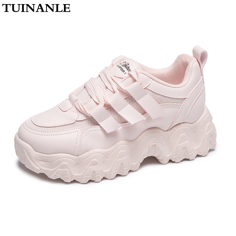 2020 White Sneakers Women Shoes Chunky Sneakers Platform Vulcanize Shoes Woman Tenis Feminino Breathable Mesh Dad Shoe TUINANLE