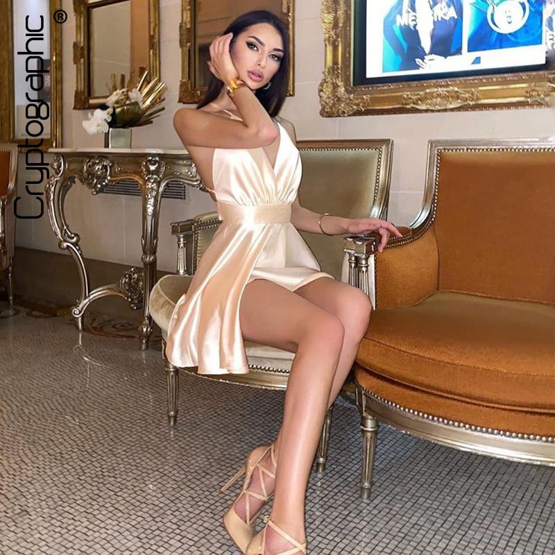 Cryptographic Satin Sexy Backless Sleeveless Party Night Club Wrap Mini Dresses Spaghetti Straps Elegant Dress Solid Vestidos