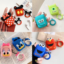 Cartoon Earphone box For Apple Airpods case Silicone Cute accessories 2 Wireless Bluetooth Headset Protective Cover