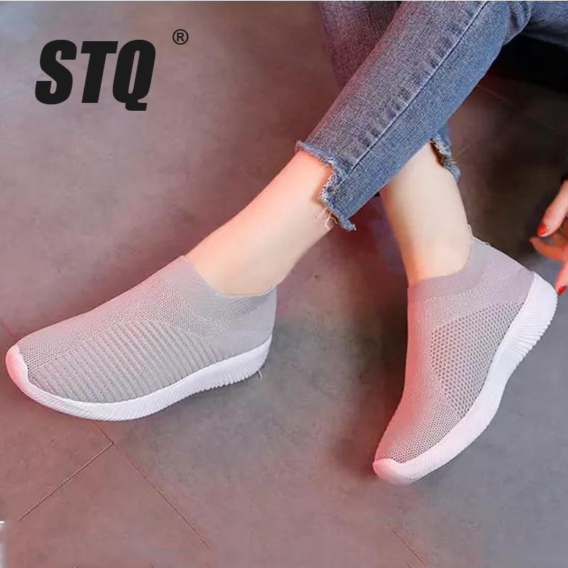 STQ Autumn Women Flats Sneakers Shoes Women Slip On Shoes Ladies Flats Platform Shoes Female Casual Breathable Mesh Shoes A19