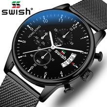 SWISH 2020 Homens Top Marca De Luxo Relógios À Prova D Água de Aço Inoxidável Dos Homens Relógio de Pulso Cronógrafo Relógio de Quartzo OcasionalRelógios de quartzo