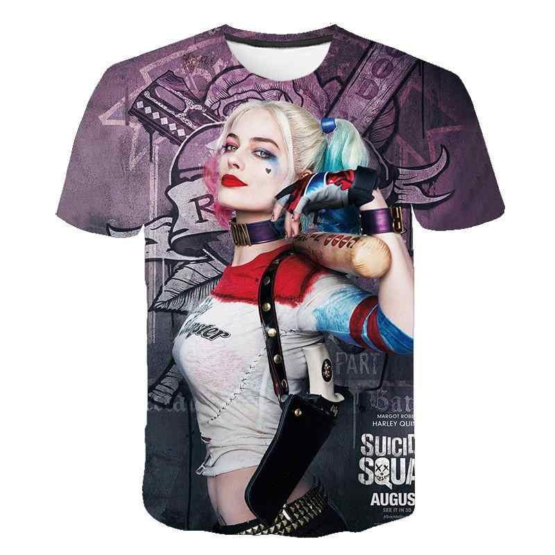 Áo Tự Sát Đội Hình Nữ Nam Harley Quinn Joker T Áo Sơ Mi Người 3D Áo Đen Đỏ Nữ Tay Ngắn quần Áo Dạo Phố