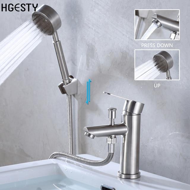 Mitigeur dévier monté sur le pont | Mitigeur en acier inoxydable avec pomme de douche, douche de salle de bains, robinet de mélange deau chaude et froide buse
