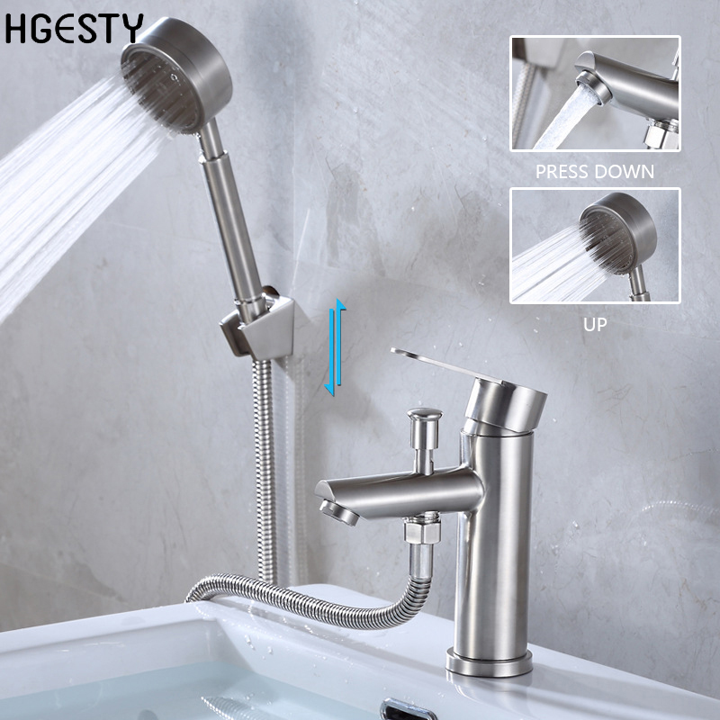 Stainless Steel Basin Faucet Deck Mounted Sink Mixer Tap with Shower Head Bathroom Shower Hot And Cold Water Mixing Valve Nozzle