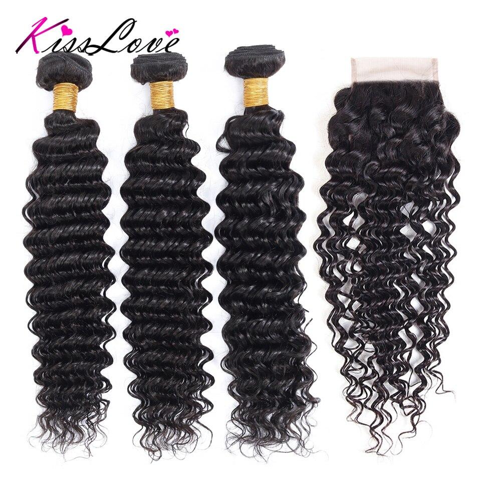 Kiss Love Peruvian Hair Deep Wave Bundles With Closure Natural Color Hair Weave 8-26 Remy Human Hair 3 Bundles With Closure