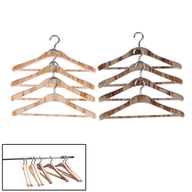 Dollhouse Miniature Wood Hangers Set of 2  in Unfinished Wood