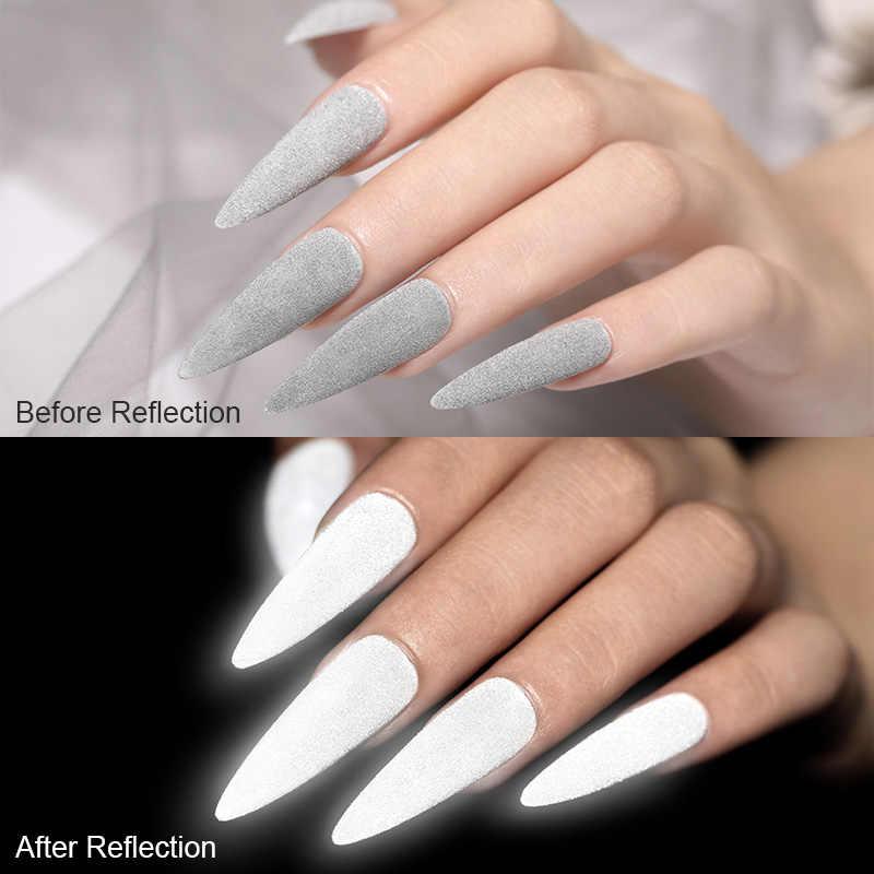 Świecące w ciemności odbicie brokat do paznokci szary biały Dazzing Party Pigment ozdoby do paznokci diy do zdobienia paznokci