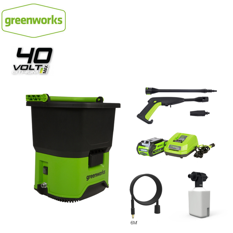GREENWORKS 5104507 GDC40 Portable Cordless Electric Pressure Washer 650W 40V Multifunction Green Washer For Car Boat Deck Etc