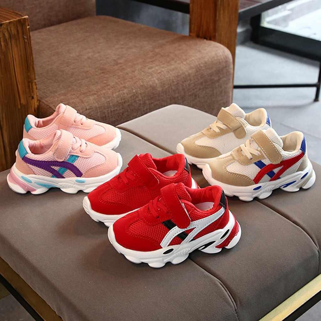 Los niños chico zapatos de bebé niñas niños invierno zapatillas de deporte para chico a rayas de Patchwork de malla de deporte Zapatillas de deporte Casual zapatos