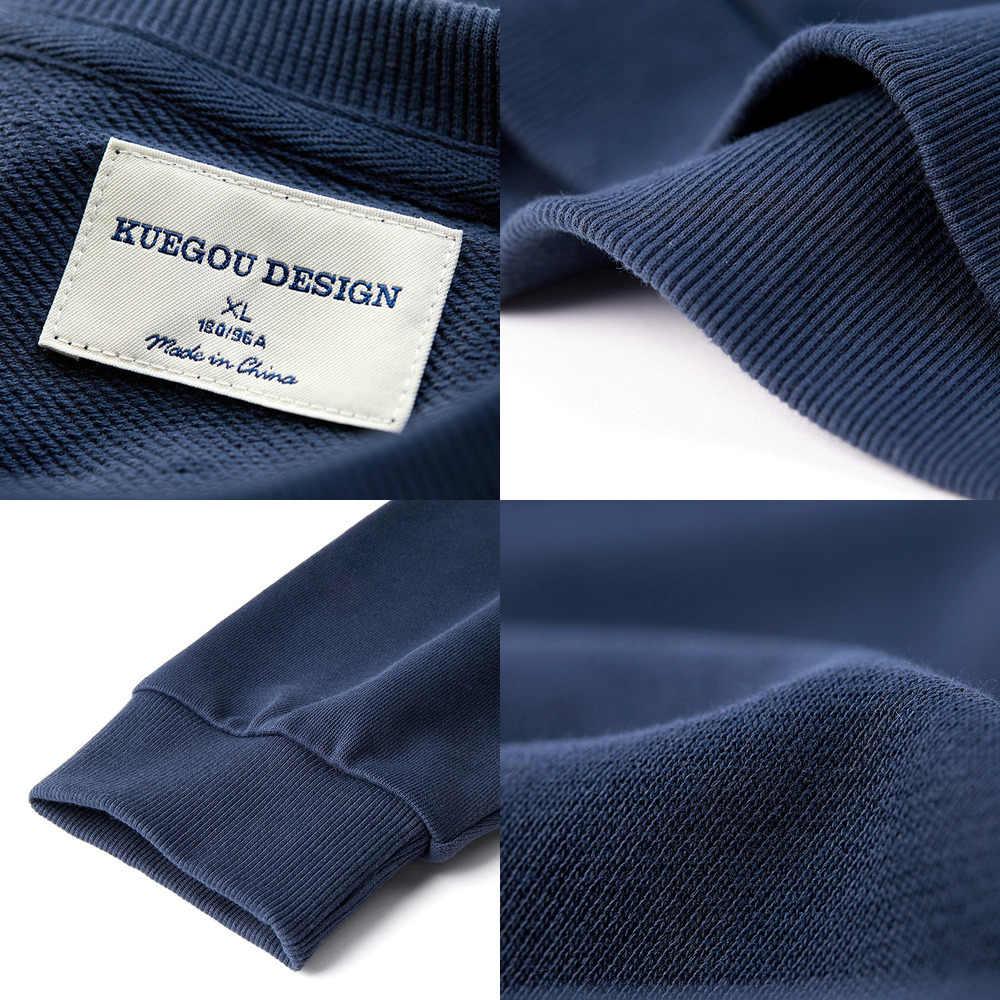 KUEGOU 2019 Herbst 100% Baumwolle Stickerei Druck Schwarz Sweatshirt Männer Mode Japanischen Streetwear Für Männlichen Kleidung Plus Größe 2239