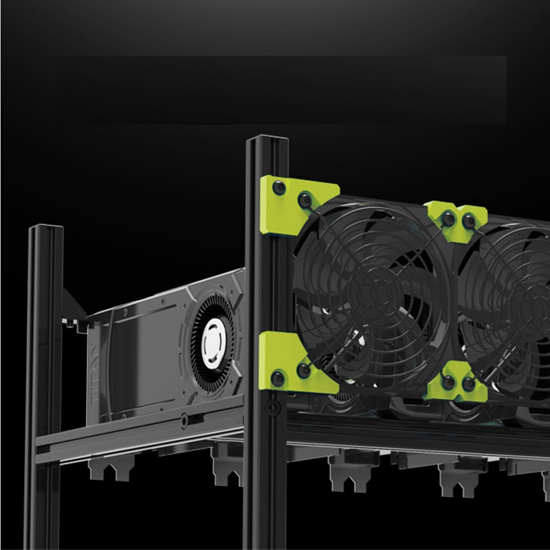 Server Rack 6 GPU Bergbau Rig Fall Öffnen Aluminu Miner Rahmen Air Rack Für ETH/ETC ZCash Computer Chassis unmontiert Stapelbar E