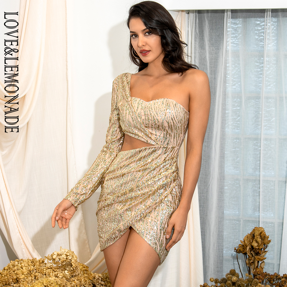 Love&Lemonade Sexy Gold Cut Out Single Sleeve Glitter Glue Bead Material Bodycon Party Dress LM81650 image