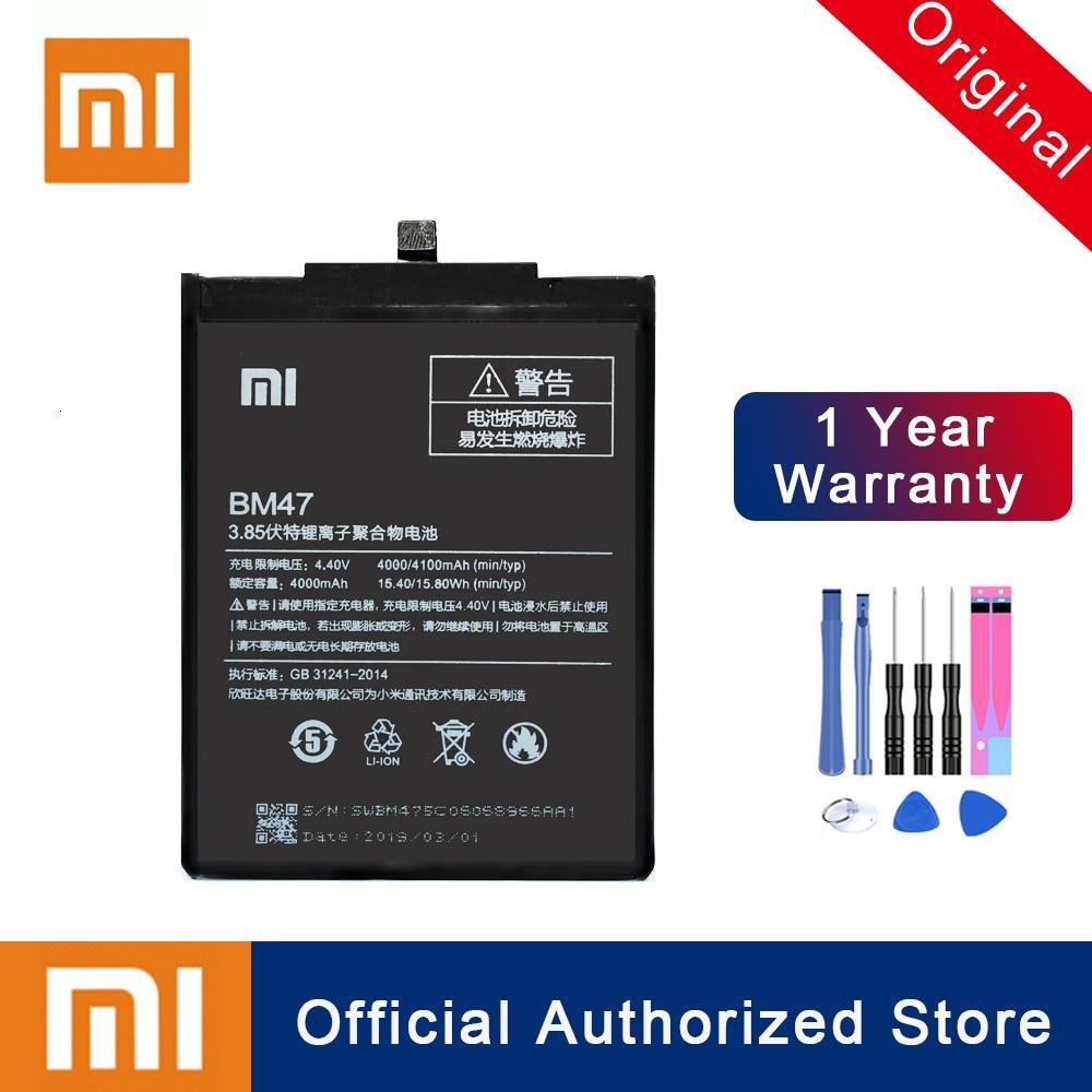 Xiao mi 100% original bm47 para o vermelho mi 3 3 s 3x4x3 pro hong mi 3 s 4x4000 mah real capacidade recarregável telefone batteria akku